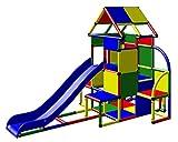 Moveandstic 6013 - großer Spielturm Lisa mit Rutsche und kleinen Anbau (Standard 4 Farben grün-blau-rot-gelb)