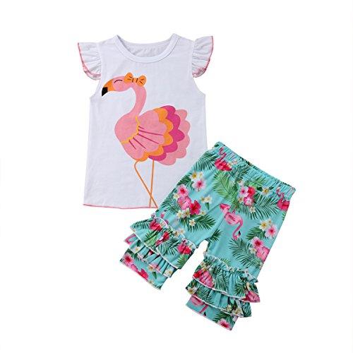 1-6 Jahre alt Kinder Baby Mädchen Flamingo Fliegen Ärmel Tops Grün Floral Tutu Hosen Outfits Kleidung Set (110/4-5Jahre alt) -