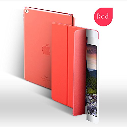 Cazcase PU Leather Translucent Back Smart Case Cover For Apple Ipad Air/Air 1(Red)