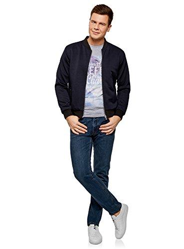 oodji Ultra Herren T-Shirt mit Sommerdruck Grau (2370P)