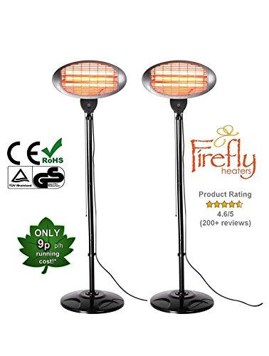 Set of 2 Firefly 2kW Outdoor Freestanding Electric Quartz Bulb Garden Patio Heaters - 3 Power Settings