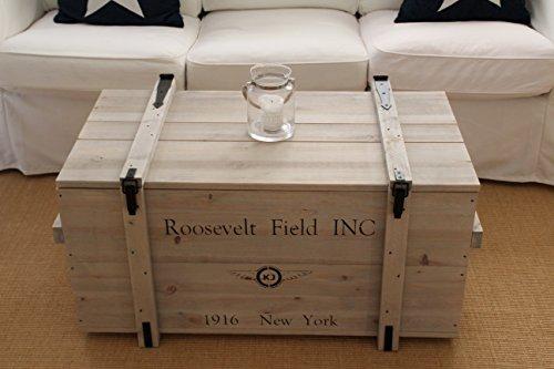 Uncle Joe´s Truhe Roosevelt Couchtisch Truhentisch im Vintage Shabby chic Style aus Massiv-Holz in grau mit Stauraum und Deckel Holzkiste Beistelltisch Landhaus Wohnzimmertisch Holztisch - 2