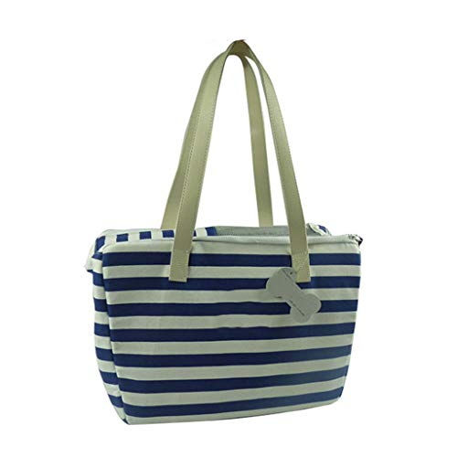 (XUELIHUA PET Tote, Portable Striped Travel Bag Pet Crossbody Bag,Blue)