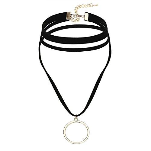 Beydodo Edelstahl Halsketten für Frauen Mädchen,Choker Halskette Linien Single Runden Kreis Gold Schwarz 3.7X4.2X31.5CM (Single 4.2)