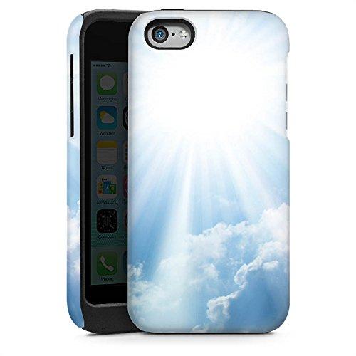 Apple iPhone 4 Housse Étui Silicone Coque Protection Nuages Rayons de soleil Ciel Cas Tough brillant