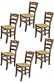 Tommychairs Chaise du Design - Set 6 chaises Savoie 38 pour la Cuisine et la Salle à Manger, avec Structure en Bois, Coleur Noix et Assise en Paille