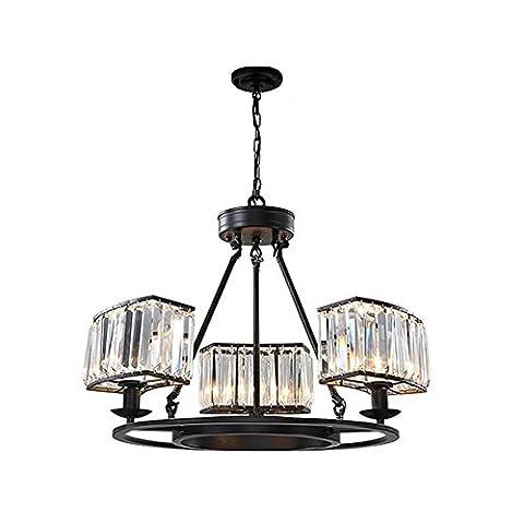 ZHOUZHOU Crystal Ceiling Lighting Black Iron Round Modern Luxurious Chandeliers 3-Light Plating Bedroom Dining Room Living Room
