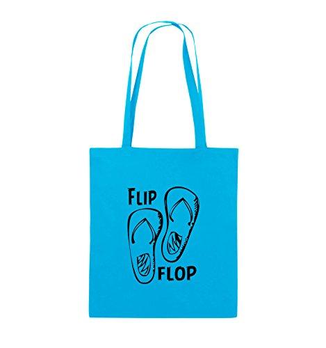 Borse Commedia - Flip-flop - Scarpe - Iuta - Lungo Manico - 38x42cm - Colore: Nero Chiaro / Blu Argento / Nero