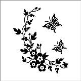 QTXINGMU Classic Schwarz Flower Sticker Mit Butterfly Home Hochzeit Dekoration Wand Aufkleber Für TV-Wand Poster Einrichtung