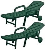 Resol Palamos Folding Sun Lounger - Green Plastic - Pack of 2 Loungers