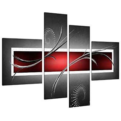 Large Red Black Grey Abstract Canvas Pictures 130cm XL Wall Art 4091 - cheap UK canvas shop.