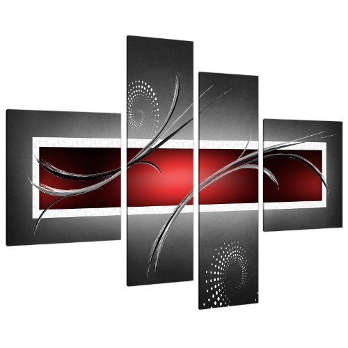 Cuadros trípticos y polípticos en Lienzo Grande Abstracto Rojo Negro y Gris 130cm XL pared 4091