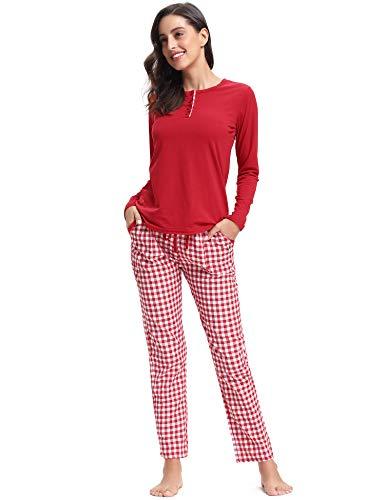 Aibrou Damen Lang Kontrastfarbe Pyjama Set, Zweiteiliger Rundhals Schlafanzug Langarm Shirt und Karierte Pyjamahose Rot L