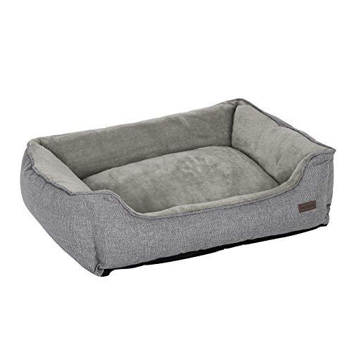 FEANDREA XXL Hundebett, Hundesofa, Bezug abnehmbar und maschinenwaschbar, kuscheliger Hundekorb, grau PGW12GG