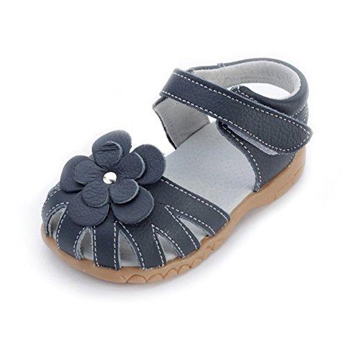 Oderola Mädchen Sommer Sandale mit weichen Sohlen Baby Leder Lauflernschuhe- tiefes Blau, EU 22 Innenlänge 13.5cm (Kleinkinder Mädchen Sandalen)
