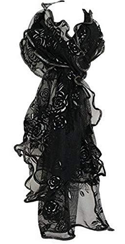 Schal Netz Geprägt Samt Blumen Schal Stola Umhang Hijab - 220cm x 65cm, Schwarz -