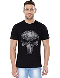 The Souled Store Punisher Skull (Glow In The Dark) Superhero Printed Premium BLACK Cotton T-shirt for Men Women and Girls