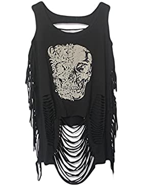 Lettre d'amour Mujeres Punk Print Borlas Ripped Hole Hollow Out Backless Vest Top