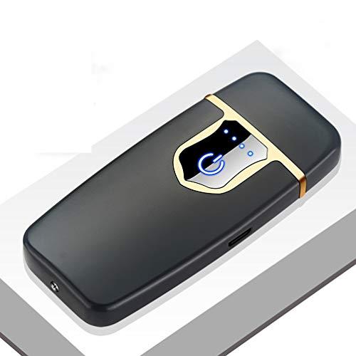Lichtbogen Feuerzeug, USB Elektronisch Arc Zigaretten Feuerzeug Touchscreen, Aufladbar Winddichte Flammenlose Sturmfeuerzeug für Herren Damen (Mattschwarz) (Damen-feuerzeug)