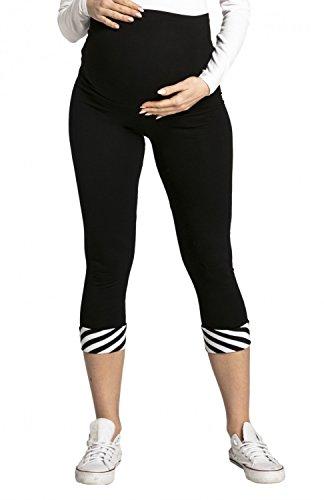 Happy Mama. Damen dehnbar Leggings Umstandsmoden elastischer Taillenbund. 200p Schwarz mit Weiß & Schwarze Streifen