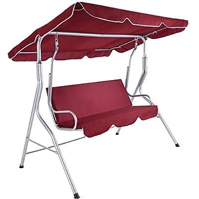 TecTake 3 Sitzer Hollywoodschaukel Gartenschaukel mit Sonnendach | witterungsbeständig | stabiles Stahlrohrgestell | weinrot