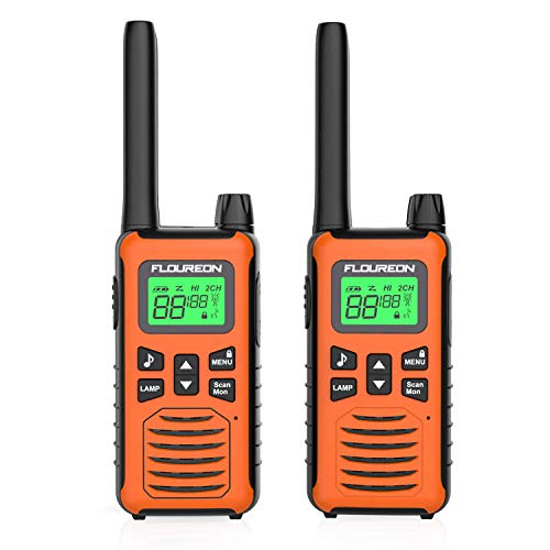 FLOUREON 2X PMR Funkgeräte Set 16 Kanäle Walkie Talkies 2-Wege Radio Walki Talki Funkhandy Interphone mit LC-Display 5KM, Orange