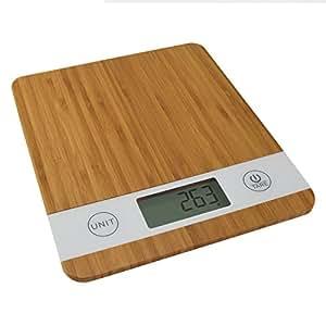 Smart Weigh Balance de Cuisine, Bamboo Numérique avec Tare, Balance Électronique pour Fruits, Cuisine, 5kg / 11lb