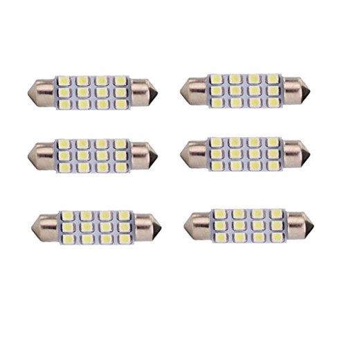 Sharplace 6pc Bombillas de 3528 LED DC 12V Equipo Electrónico Compatible para Vehículos de 42mm Festoon Bulbos