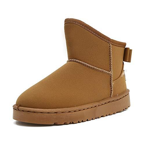 Winter Schnee Stiefel Mode Frauen Schuhe Flache Kursteilnehmer Stiefel Verdicken Brot Baumwolle Schuhe, 40, Maroon ()