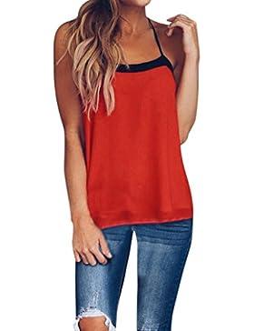 Morwind T-Shirt Maglie Donna,Canotte Eleganti Donna Impiombatura Colore Senza Maniche Crop Top Sexy Gilet Camicetta...