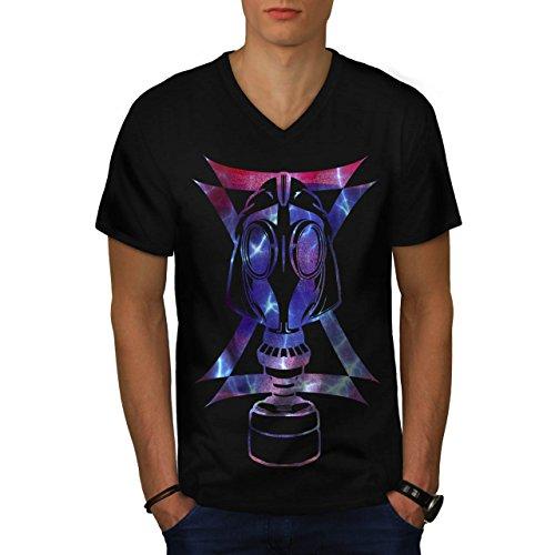 Gas Maske Abstrakt Mode Verkleidung Gesicht Herren M V-Ausschnitt T-shirt | Wellcoda (Billig Gas Maske)