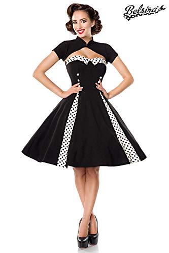 Belsira Vintage-Kleid mit Bolero Mittellanges Kleid schwarz/weiß 3XL