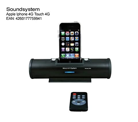 Soundsystem Apple Iphone 4G 4GS Noir. Système audio portable - Station d'accueil pour iPOD iPHONE noir Apple 4 G Touch 4G … Micro Hifi stereo Station, Audiosystem, 2 x 3 Watt Télécommande sans fil