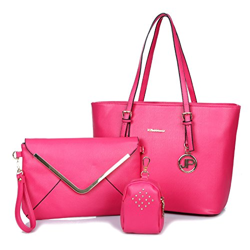 X&L Frauen's Mode Trends Zahnstocher-set Muster drei Single Diagonale Schulter Handtasche rose red