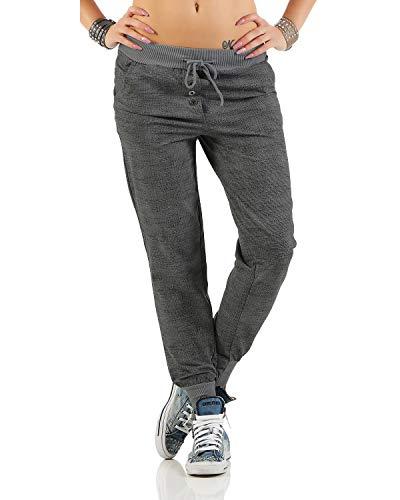 Zarmexx trendy Damen Sweatpants Baggy Boyfriend Freizeithose Jogginghose Baumwolle Sporthose Loose fit (Einheitsgröße: Gr. 36-40, Grau)