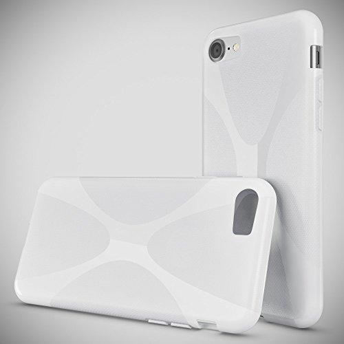 iPhone 8 / 7 Coque Protection de NICA, Housse Silicone Portable Mince Souple, Tele-phone Case Cover Premium Ultra-Fine Resistante Gel Slim Bumper Etui pour Apple iPhone 7 / 8 - S-Line Noir X-Line Blanc