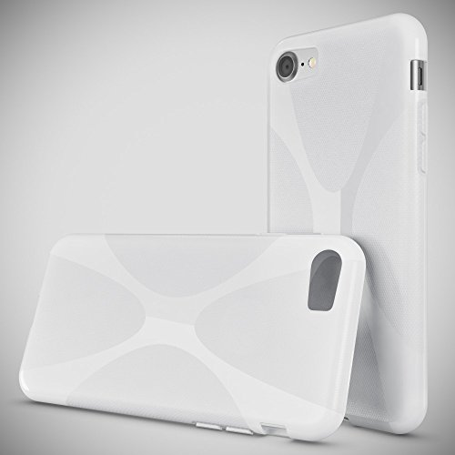 iPhone 8 / 7 Hülle Handyhülle von NICA, Ultra-Slim Silikon Case Cover, Dünne Crystal Schutzhülle, Etui Handy-Tasche Back-Cover Bumper, TPU Gummihülle für Apple i-Phone 7 / 8 Phone - Transparent Weiß X-Line Weiß