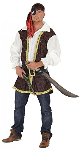 Foxxeo Piraten Kostüm für Herren mit Gürtel Oberteil und Kopfband für Fasching und Karneval Größe M Jack Sparrow Make-up