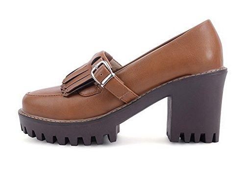 VogueZone009 Femme à Talon Haut Matière Souple Couleur Unie Tire Rond Chaussures Légeres Brun