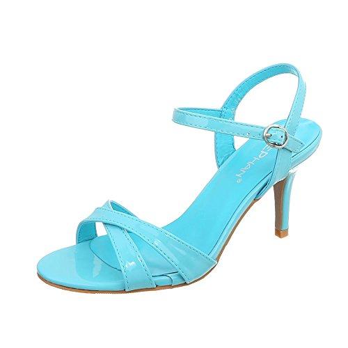 Ital-Design High Heel Sandaletten Damen-Schuhe Pfennig-/Stilettoabsatz Heels Schnalle Sandalen Hellblau, Gr 39, Ab-92- -