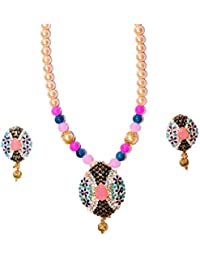Jova Gold Plated Necklace Set With Matching Earrings For Girls And Women