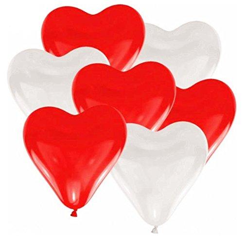 Leisial 100pcs Globos de Espesor de la Boda Cumpleaños para Hogar Fiesta Boda Navidad Decoración Colgante Redondos de Helio y Aire - Corazón