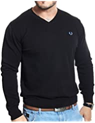 Fred Perry - Pull col V noir en coton fin
