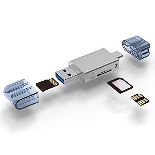 USB 3.0-Kartenleser, Kartenleser Speicherkartenadapter Hochgeschwindigkeitslesung Dual-Karten-Simultanlesung Geeignet für Typ-C-Schnittstelle Handy Tablet