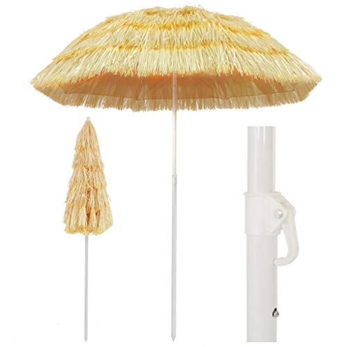 SOULONG Parasol Paille de 180 cm Tropicale Hawaii Grand Parasol d'extérieur pour Piscine, tonnelle, terrasse, Bar, hôtel, Balcon