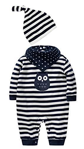 SANMIO SANMIO Newborn Baby 3 Pcs Strampler Spielanzug Baumwolle Langarm Bodysuit Unisex Kleinkinder Streifen Jumpsuits mit Hut & Geifer-Lätzchen