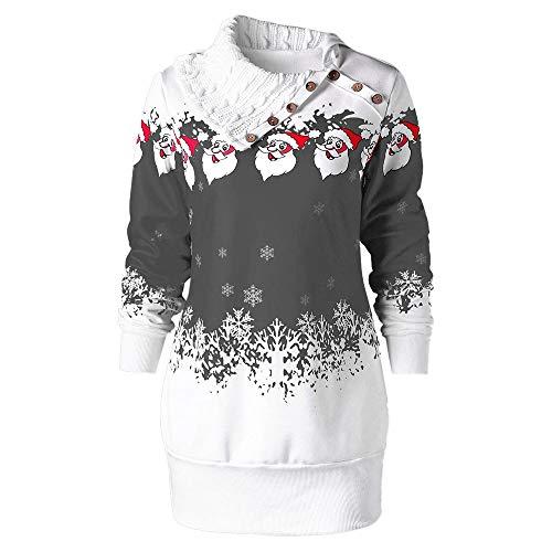 TWBB Herbst Damen Weihnachtsmann Drucken Slim-Fit Kleid Langarm Kleider Winter Sweatshirt