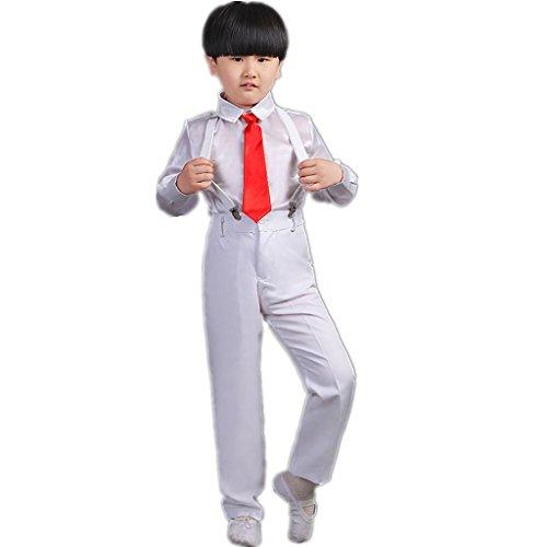 Byjia Kinder Tanz Performance Kostüm Chor Kleider Grundschüler Student Shirt Set Blumen Boy Shirt Poetry Recitation Bekleidung Gruppe Team . White . (Boy Rumba Kostüm)