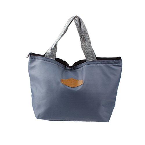 Wanshop ® borsa termica porta-pranzo in tela impermeabile borsa per picnic per portare cibo in viaggio, a scuola, in ufficio, a pranzo in bella tela, per adulti, bambini (grigio)