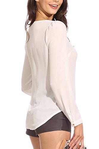La Femme A Été Profondément V Mousseline Tee - Shirt Sans Manches. white